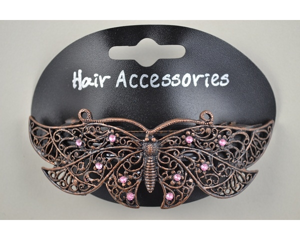 Bronzed butterfly barrette with clear or pink diamante stone detail