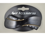 Black  shaped barrette with diamante detail on outer edges