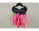 16 elastics of plain, spot, heart and stripy design. Colours as shown
