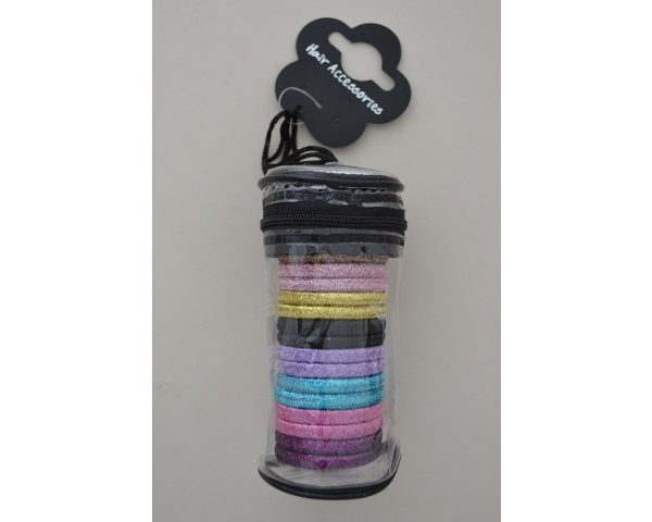 Small flexible tube of 20 glittery metallic elastics. Colours as shown