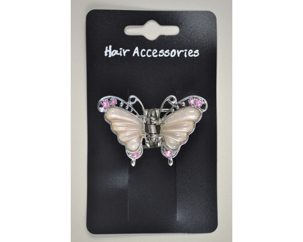 5.5cm butterfly mini clamp in pink, fucshia, green & lilac