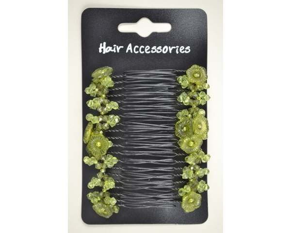 8.5cm pair of combs with crystallised flower detail. In charcoal, pink or olive green