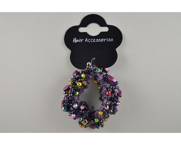 1 sateen scrunchie, trimmed with beads. In purple, brown, red & black