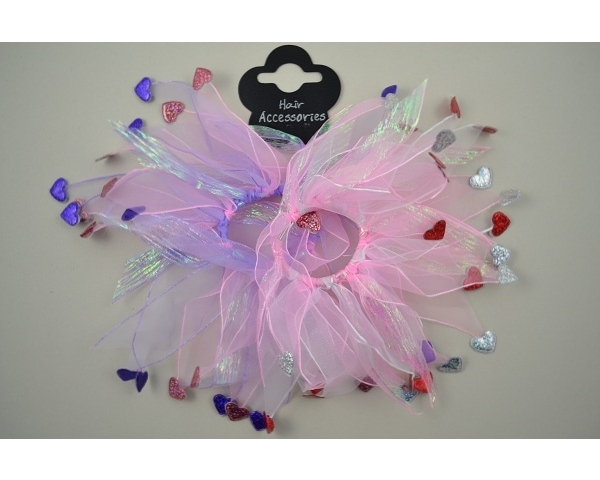 2 windmill scrunchies with metallic hearts. In pink and purple