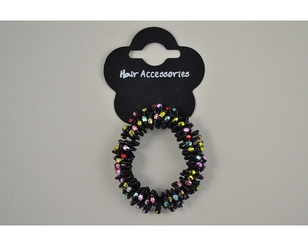 1 black beaded scrunchie per card