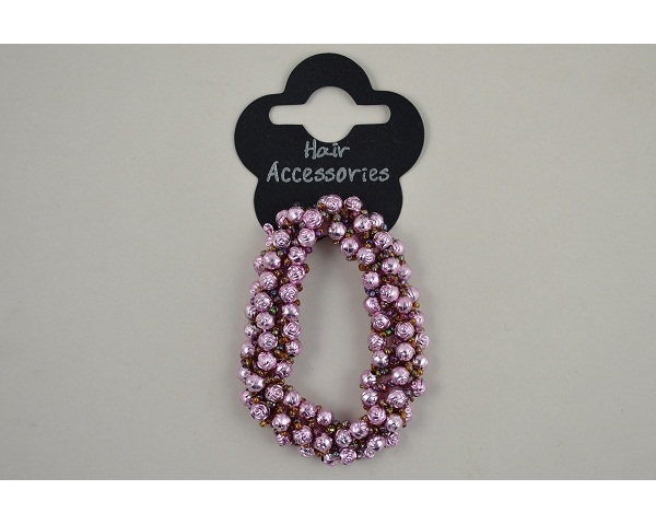 1 rose shaped beaded scrunchie in pink