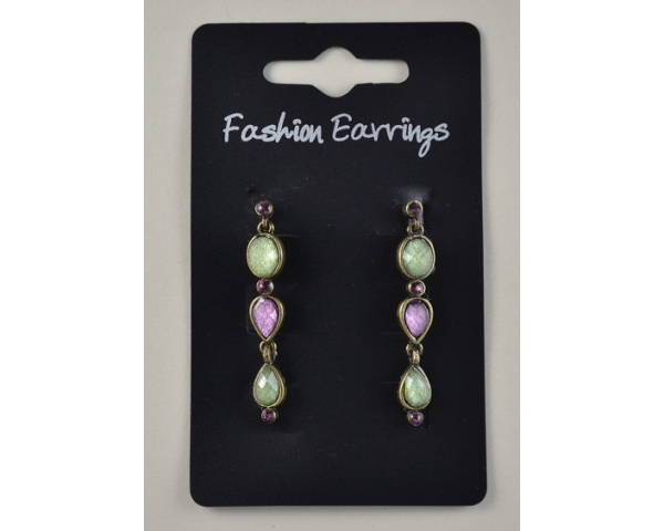 3 stone bronze droplet earrings. Colour as shown