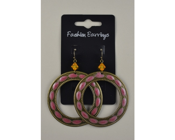 Bronze hooped droplet earrings with amber bead and pink design insert