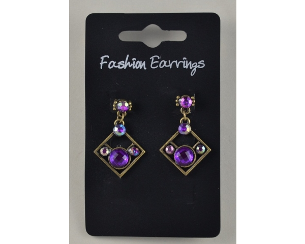 Bronze diamond shape droplet earrings with diamantes. Packed in assorted colours