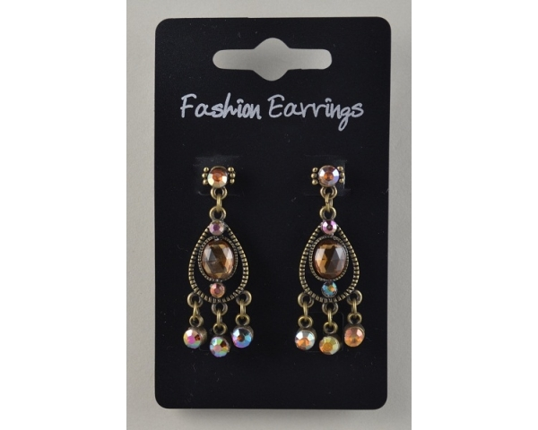 Bronze teardrop shaped earrings with diamante detail. In amber or clear stone.