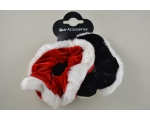 2 Christmas velvet scrunchies with white fur trim. 1x red & 1x black per card