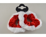 2 Christmas scrunchies red with white fur trim