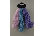 3 knitted stretchy bandeaux per card with silver thread detail. In pink, blue & lilac