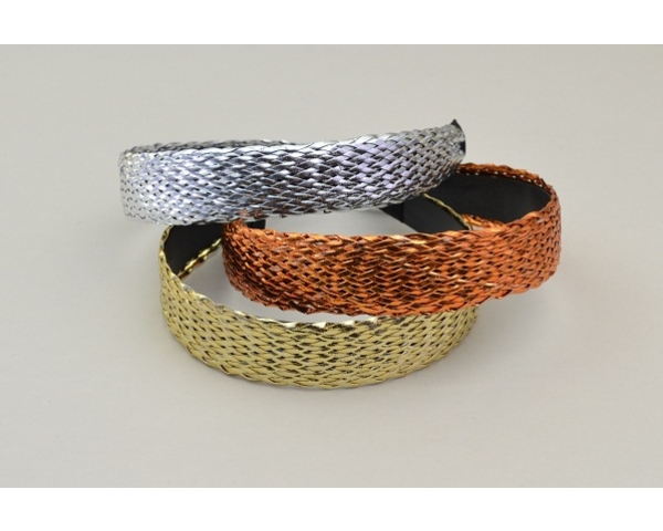 Alice band with coloured lattice effect overlay. Packed in assorted gold, silver & bronze