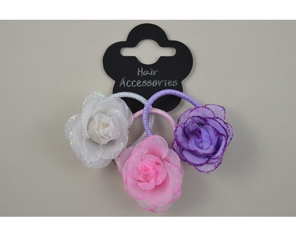 3 small roses on elastics per card with glitter in lilac, pink & white