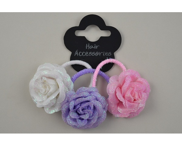 3 glittery roses on elastics per card in white, pink & lilac