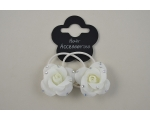 2 small roses on elastics with diamante detail per card.Packed 6 black & 6 cream
