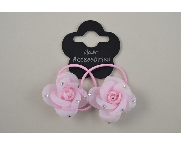 2 small roses on elastics with diamante detail per card . Packed 6 light pink and 6 pink