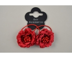 2 flowers on elastics with centre bead detailing. Packed 2 red, 2 cream & 8 black