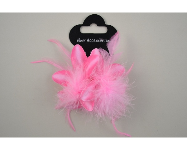 ** Price Reduction ** Double flowers on an elastic with feather detail. Packed 4 pink, 4 cream & 4 black