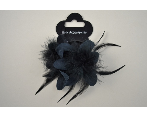 Double flower on an elastic with feather detailing in black