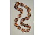 Translucent brown oval bead necklace. Approx 32 inches