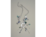 Silver charm necklace with blue & turquoise beads and adjustable clasp. Approx 30