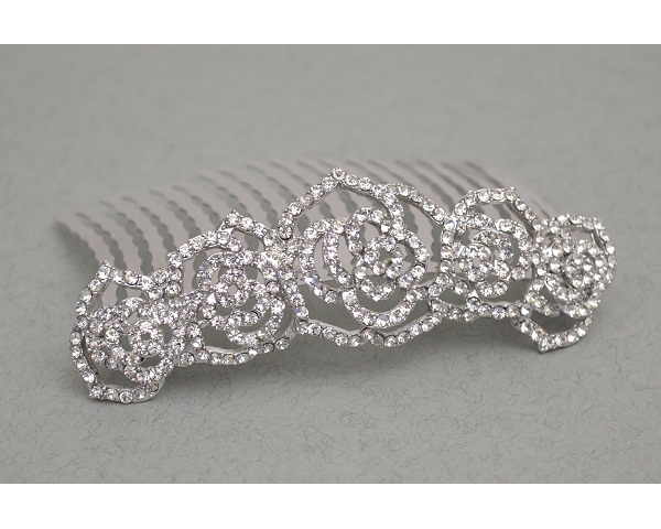 Crystal rose design comb tiara. Length 9cm, height 3cm approx