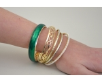 5 bangles per kimble; pearl bead, cut out hearts, 2 mirror style & wide green