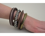 4 bangles per kimble : 2 wooden design, leopard print fabric covered & cut out design