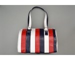 **WAS £10.00** Patent finished barrel shaped bag.Internal zip & accessory pockets. 33x20x17cm (LxHxW)