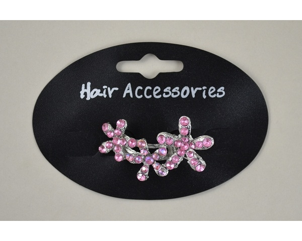 Triple diamante flower micro clamp. Packed assorted pink & clear stones