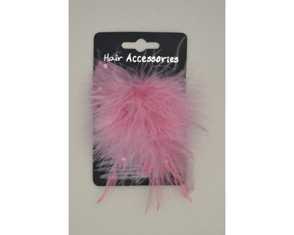 Feather slide comb. Comb is clear plastic & approx 7cm. Packed assorted pink & black