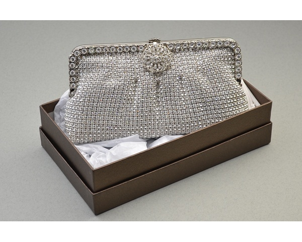 Vintage style silver clutch bag covered in crystal stones with pleating detail outlined with additional crystals and a crystal rose clasp. Long chain included