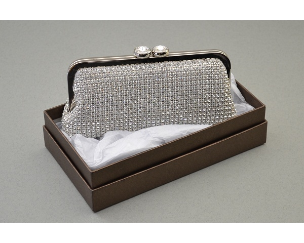 Silver clutch bag covered in crystal stones with a double diamante clasp fastening. Long Chain included