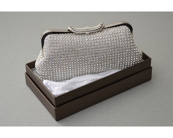 Silver clutch bag covered in crystals with a fan shaped clasp with additional crystals. Long chain included