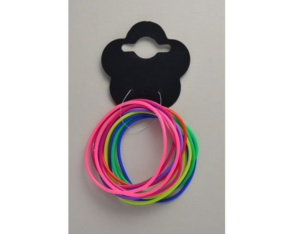 Card of 14 neon coloured gummy bracelets