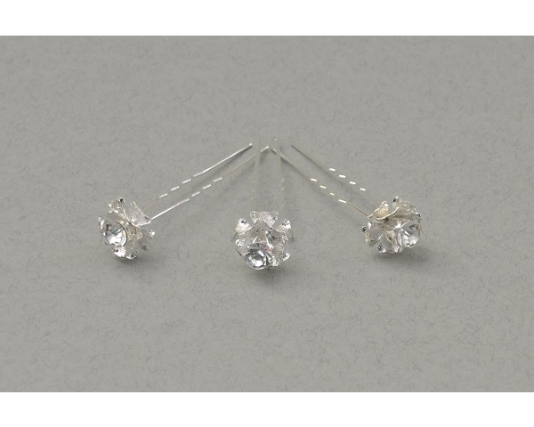 ** BACK IN STOCK ** 12 x Silver rose hair pins decorated with centre crystal. Rose approx 1cm.