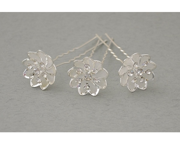 12 x Silver flower hair pin with mesh inlay & 7 cyrstals. Flower approx 2cm .