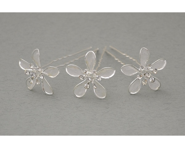 12 x Silver daisy hair pin with mesh inlay & 7 crystals. Flower approx 3cm.
