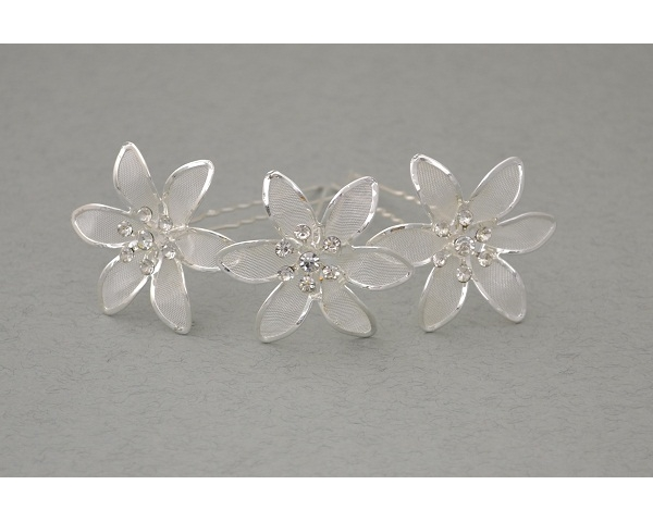 12 x Large silver flower hair pin with mesh inlay & 7 crystals. Flower approx 4cm.