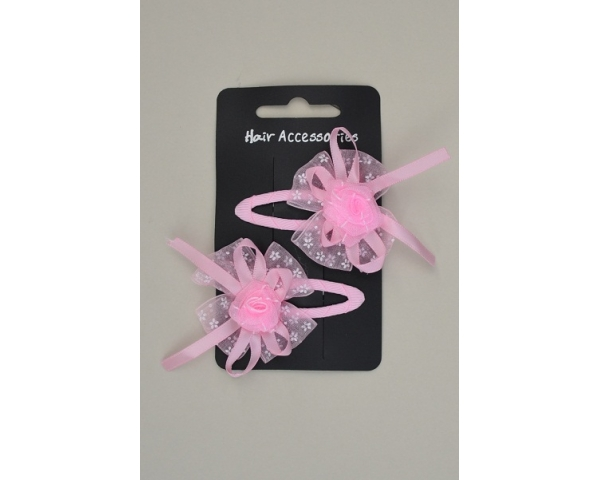 2 chiffon rose bud and bow snappys. In light pink and fuchsia per pack    enlarge image 22f18a1243a