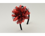 Metallic red sparkly flower on sateen alice band with net detailing.