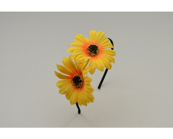 Sateen covered alice band with two side mounted sunflowers