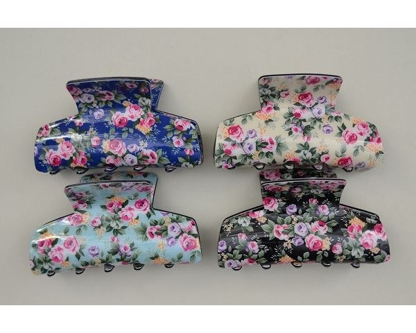 Floral print design clamp. Assorted colours as per image. Approx 8cm