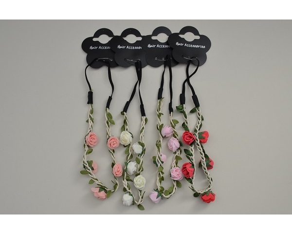 Long elastics decorated with green sateen twine and rose bud flowers. Packed assorted colour as per image