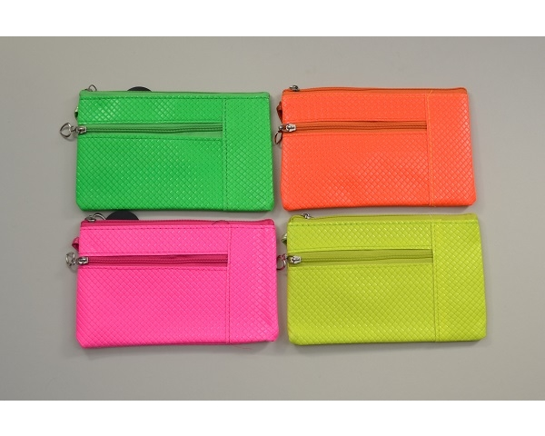 Hot neon coloured purse with heart zipper and wrist strap. L = 17cm  H = 11cm approx. Packed assorted colours as per image