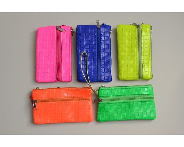 Mock croc effect neon purse with wrist strap. L = 13cm H = 8cm approx. Packed colours as per images
