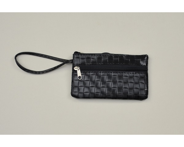 Mock croc effect purse in black with wrist strap. L = 13cm H = 8cm approx.