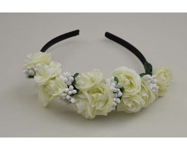 White flower clusters on sateen covered alice band with bead clusters.
